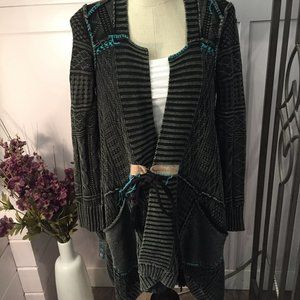 Free People Charcoal Cardigan with Rope Closure